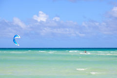 Kitesurfing on the coast of Cuba. Royalty Free Stock Photography
