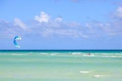 Kitesurfing on the coast of Cuba. Cayo Guillermo in Atlantic Ocean Royalty Free Stock Photography