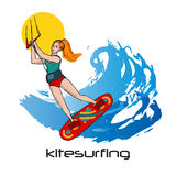 Kitesurfing colorful young woman, waves and sun Royalty Free Stock Images