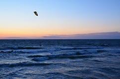 Kitesurfing com vento Foto de Stock Royalty Free