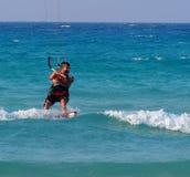 Kitesurfing In Cuba Royalty Free Stock Photos