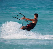 Kitesurfing In Cuba Royalty Free Stock Image
