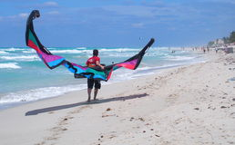 Kitesurfing In Cuba Royalty Free Stock Photos