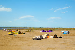 Kitesurfing in Delta de l'Ebre, Spain Stock Photo