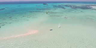Kitesurfing in Egypt. A lot of people shooting from the air 4K video stock video