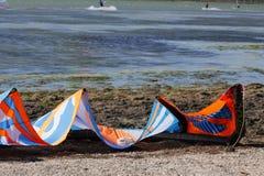 Kitesurfing eller surfing Arkivbilder