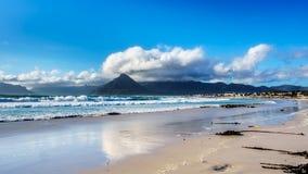 Kitesurfing en la comunidad de la playa de Het Kommitjie cerca de Cape Town Fotografía de archivo libre de regalías