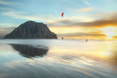 Kitesurfing in the evening at Morro Bay Beach stock photo