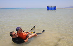 Kitesurfing. Father and son. Royalty Free Stock Photography