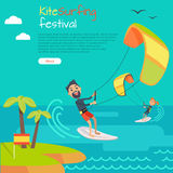 Kitesurfing Festival Banner. Style of Kiteboarding. Kite surfing festival. Kitesurfing is style of kiteboarding specific to wave riding, surface water sport Royalty Free Stock Image