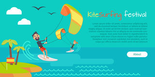 Kitesurfing Festival Banner. Style of Kiteboarding Royalty Free Stock Photo