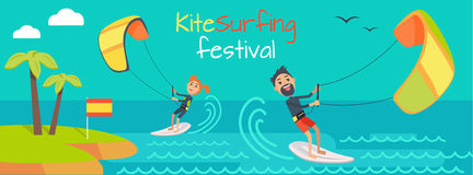 Kitesurfing Festival Banner. Style of Kiteboarding Stock Photography