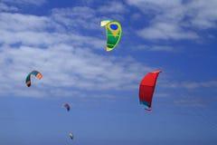 Kitesurfing on Fuerteventura Island Stock Photos