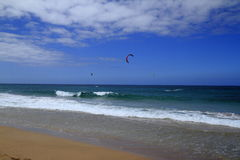 Kitesurfing on Fuerteventura Island. Canary Islands, Spain Royalty Free Stock Photos