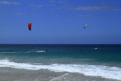 Kitesurfing on Fuerteventura Island Stock Image