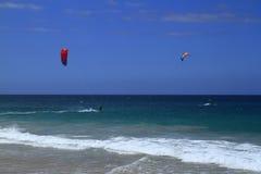 Kitesurfing on Fuerteventura Island. Canary Islands, Spain Stock Image