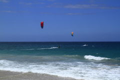 Kitesurfing on Fuerteventura Island Royalty Free Stock Photo