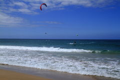Kitesurfing on Fuerteventura Island Stock Photos