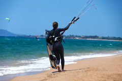 Kitesurfing girl Royalty Free Stock Images