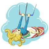 Kitesurfing happy jumping girl Stock Photography