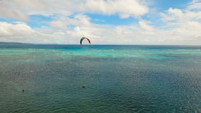 Kitesurfing on island Boracay and Bulabog Boracay island Philippines. stock footage