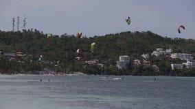 Kitesurfing on island Boracay and Bulabog stock footage