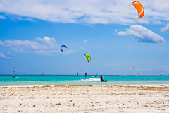 Kitesurfing in Italy Stock Image