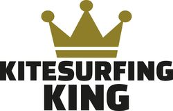 Kitesurfing king with crown. Vector Stock Photography