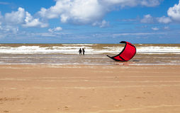 Kitesurfing (kiteboarding) in North sea Royalty Free Stock Image