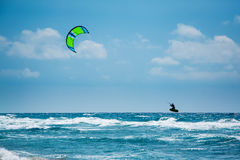 Kitesurfing or Kiteboarding Stock Photography