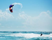 Kitesurfing or Kiteboarding. In sea Royalty Free Stock Images