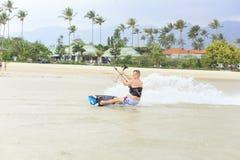 Kitesurfing on Koh Samui island.31 January 2015 Stock Photos