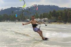 Kitesurfing on Koh Samui island.31 January 2015 Royalty Free Stock Photography