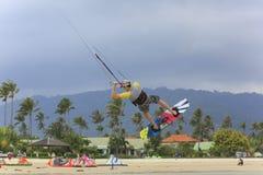 Kitesurfing on Koh Samui island.31 January 2015 Royalty Free Stock Photo