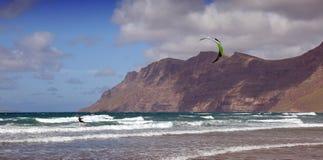 Kitesurfing on Lanzarote. With beautiful view stock photos