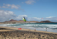 Kitesurfing in Lanzarote Stock Photos