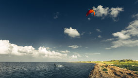 Kitesurfing Lessons Summer Holiday Vacation Surfing Concept Royalty Free Stock Photos