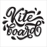 Kitesurfing lettering logo. In graffiti style isolated on white background. Vector illustration for design t-shirts, banners, labels, clothes, apparel, water Royalty Free Stock Photography