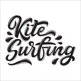 Kitesurfing lettering logo. In graffiti style isolated on white background. Vector illustration for design t-shirts, banners, labels, clothes, apparel, water Stock Photography