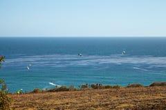 Kitesurfing in Malibu Royalty Free Stock Photo
