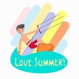 Kitesurfing man flat character. Color vector illustration stock illustration
