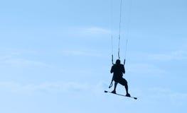 Kitesurfing in Mauritius stock foto's
