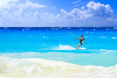 Kitesurfing in Mexico Royalty Free Stock Photo