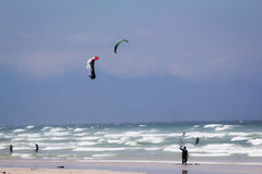 Kitesurfing at Muizenberg beach Stock Photography
