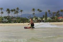 Kitesurfing na Koh Samui wyspie 31 2015 Styczeń Zdjęcia Stock