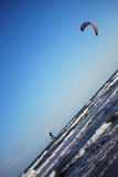 Kitesurfing near Chioggia. During a windy day in Chioggia, Venice, Italy Stock Photo