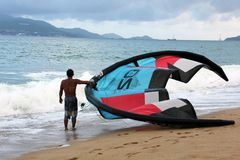 Kitesurfing in Nha Trang, Vietnam royalty free stock photography