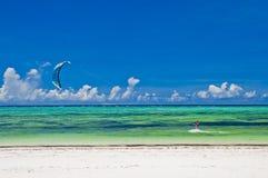 Kitesurfing. Off the coast of Zanzibar, Africa Stock Images