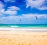 Kitesurfing. Photography of kitesurfing on Corralejo beach, Fuerteventura, Canary Islands, Spain Stock Photos