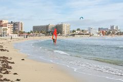 Kitesurfing Playa de Palma Στοκ Εικόνες